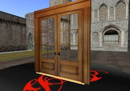 second life marketplace scripted fancy wooden french double door