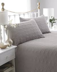 Grey Quilted Comforter Grey Reversible Embossed Quilted Bedspread Leaf Includes 2