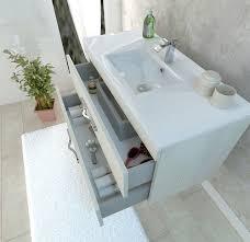mensole rovere grigio mobile bagno cm 42 un anta lavabo e specchiera con mensola