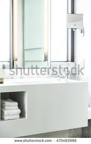 Decoration In Bathroom Modern Bathroom White Brick Wall Dark Stock Illustration 702315511