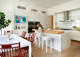 tv in kitchen ideas ambassador residence contemporary kitchen chicago by wheeler