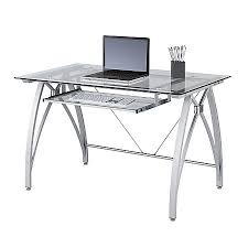 Realspace Vista Glass Computer Desk Silver by Office Depot  OfficeMax