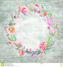 shabby chic background with floral wreath stock photo image