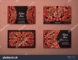 vector vintage visiting card set floral stock vector 375384856
