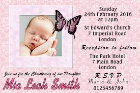 Sample Of Invitation Card For Christening 10 Personalised Pink Christening Invitations Personalised Invite