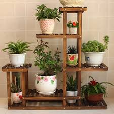 Home Decor Flower Vintage Wooden Plants Stand Shelf Garden Home Decor Flower Display