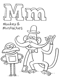 mustaches and monkey free alphabet coloring pages alphabet