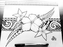 black garter with hibiscus tattoo design