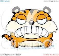 clipart graphic of a cartoon mad saber toothed tiger character