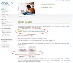 direct deposit card vision prepaid cards frequently asked questions