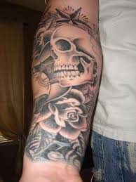 blood from skull rose tattoo on forearm photo 2 2017 real photo