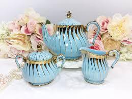 blue and gold sadler 3 piece english teapot creamer u0026 sugar bowl