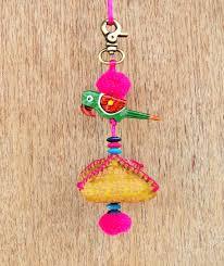 multicolor parrot tassel handmade bag charm tribal bohemian