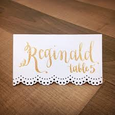 Classic Name Card Design Custom Gold Calligraphy Lace Place Cards Wedding Name Card