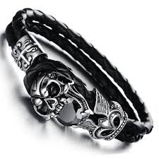 leather hand bracelet images Men 39 s vintage stainless steel skull bracelet with black faux jpg