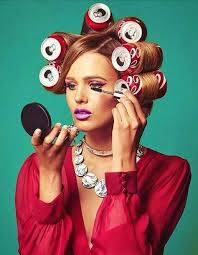 men with red fingernails and curlers in hair 163 best cans used as rollers images on pinterest rollers in