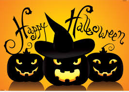 cute happy halloween picture saying with funny pumpkins
