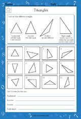 types of triangles math practice worksheet grade 4 teachervision
