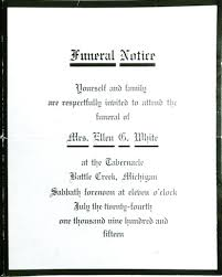 funeral invitation the compass magazine 100 years ago today g white s funeral
