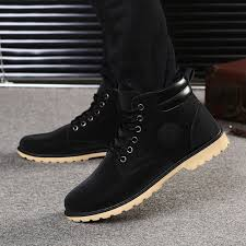 fashion men boy ankle boots fur lined winter autumn warm martin
