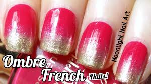 red u0026 gold ombre french manicure sponge nail art youtube