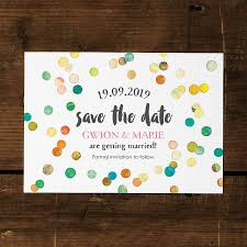 save the date designs confetti swirl save the date card or fridge magnet by feel