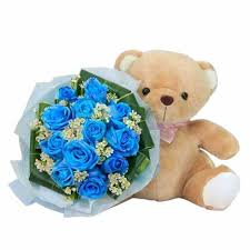 bears delivery blue roses delivery singapore bf691 12 blue roses dyed