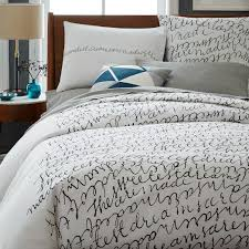 nyc script black and white duvet cover and shams