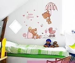 stickers nounours pour chambre bébé ufengke ours mignons de bébé et parapluie fleurs stickers muraux