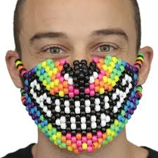 rainbow wolf kandi mask made by kandi gear