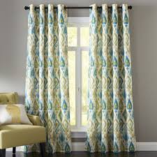 Green And Blue Curtains Ikat Blue Green 84 Grommet Curtain Blue Green Grommet