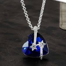 titanic blue heart necklace images Women jewelry birthday necklace best friends star with blue jpg