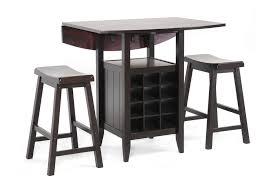 Dining Room Table With Wine Rack by Baxton Studio Reynolds Black Wood 3 Piece Modern Drop Leaf Pub Set