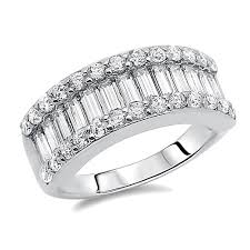 baguette wedding band accent sterling silver rhodium plated wedding ring