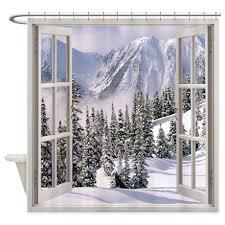 Winter Window Curtains Winter Window View Shower Curtain Window View And Window