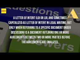 what should be in a letter of intent youtube