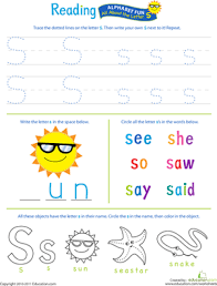 get ready for reading all about the letter s worksheet