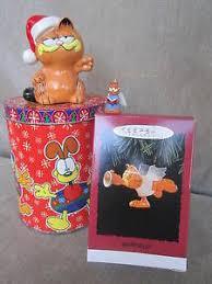 garfield set 4 items santa cat ornaments tin hallmark