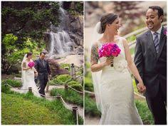 Wedding Flowers Richmond Va Bride And Groom Kissing By A Waterfall Falls Church Virginia 2941