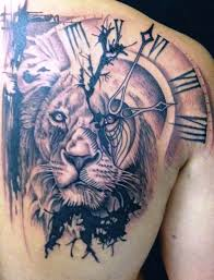 clock and designs on back shoulder insigniatattoo com