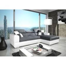 canapé cuir et tissu meublesline canapé d angle 4 places neto design gris et blanc