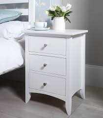 Bedside Tables Edward Hopper White Bedside Table With 3 Drawers Metal Runners