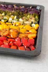 Roasted Vegetables Recipe by Oil Free Rainbow Roasted Vegetables Recipe Vegetables Baking