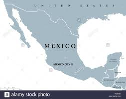 United States Map With Capitals by Mexico Political Map With Capital Mexico City And National Borders