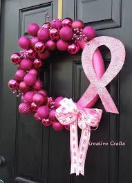 breast cancer awareness wreath for pink ornament bulb
