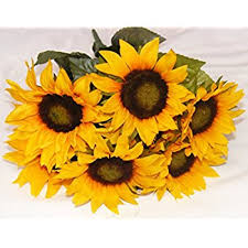 Artificial Sunflowers Beautiful Artificial Sunflower Bush With 7 Heads 4 Blooms Home