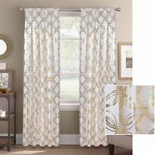 Gold Metallic Curtains Premium Textured Weave White Gold Metallic Geometric Link Curtains