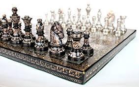 buy chess set stonkraft handmade premium brass 31 x 31 cm chess set metallic