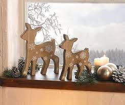 reh rehe deko figuren weihnachten weihnachtsdeko holz braun