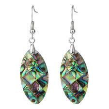drop earring phoebe s oval shaped abalone shell dangle drop earring